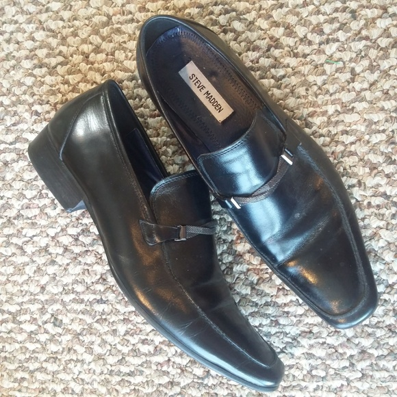 a6f27c31d57 Steve Madden 10 Black Leather Slip On Dress Shoes
